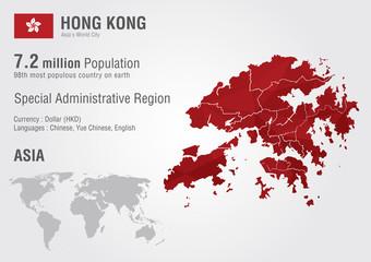 Wall Mural - Hong Kong world map with a pixel diamond texture.