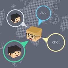 block isometric cartoon chat