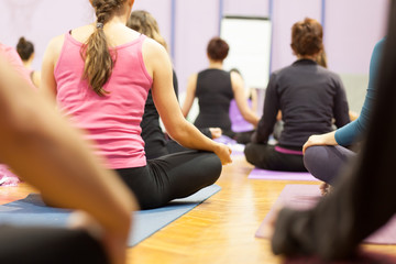 lotus position at yoga class