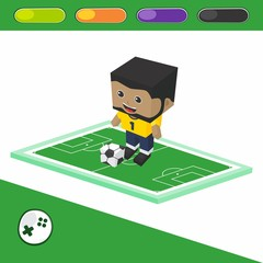 soccer block isometric cartoon character