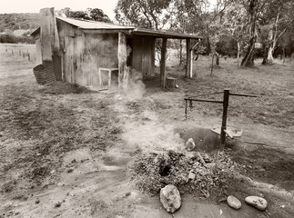 old cabin black and white Australia