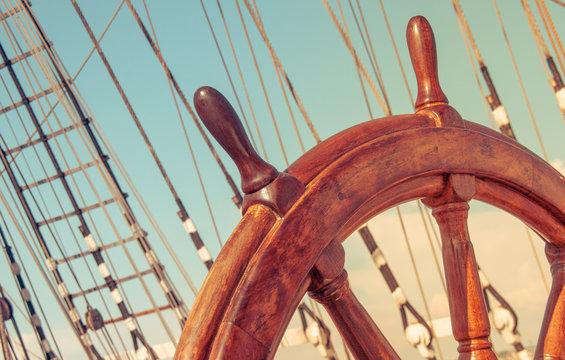 Steering wheel of old sailing vessel