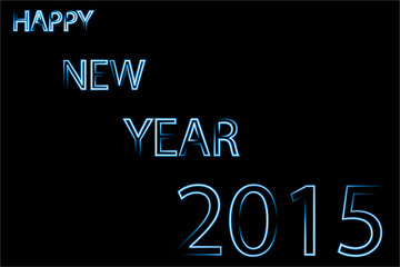 Happy new year 2015 blue neon