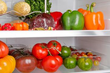 Different vegetables inside a refrigerator