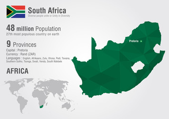 Wall Mural - South Africa world map with a pixel diamond texture.