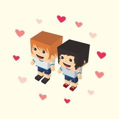 love couple block isometric cartoon character