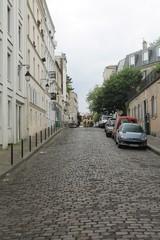 Cobblestone street, Montmartre, Paris, France