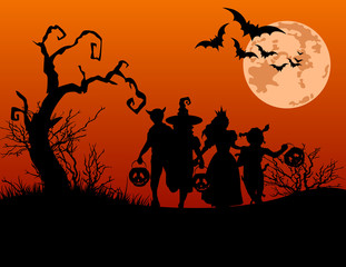 Halloween background with silhouettes of trick or treating child
