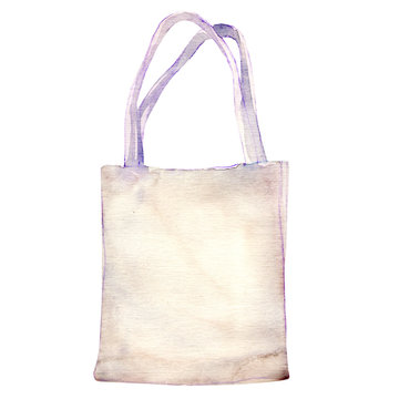 watercolor white fabric bag isolated