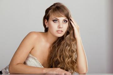 Beautiful brunette woman , Long Natural Hair