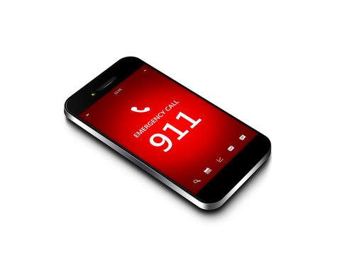 mobile phone with emergency number 911 isolated over white