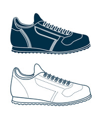 drawing of sports shoes