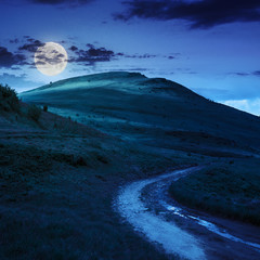 mountain path uphill to the sky at night