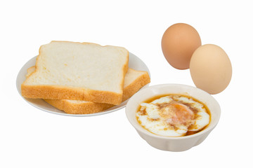 bread and soft boiled egg isolated