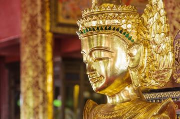 Closed up buddha image burmese style.
