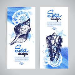 Seashell banners. Sea nautical design.