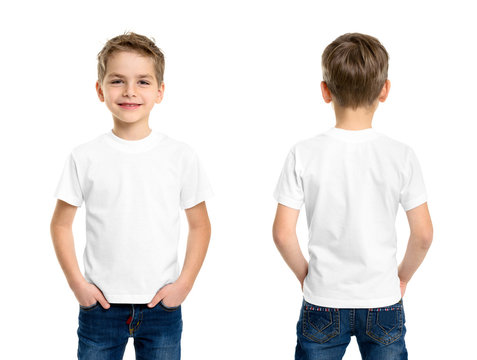 White t-shirt on a young man isolated