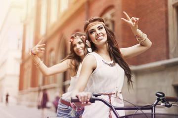 Young boho girls loving freedom