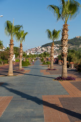 Alanya - Cleopatra beach. Long boardwalk  and bike path . Turkey