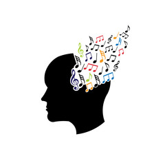 Concept of musical brain logo