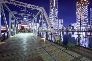 Yokohama, Japan at Minato Mirai Pedestrian Bridge