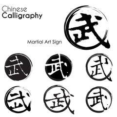 Various kind of Martial art sign in Chinese Calligraphy
