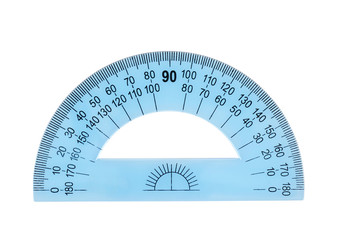 Blue plastic protractor ruler