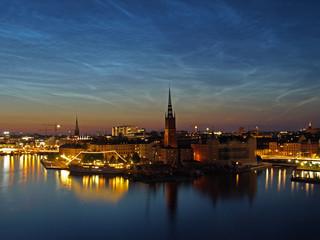 Keuken foto achterwand Stockholm Noctilucent clouds over Gamla stan, Stockholm, Sweden