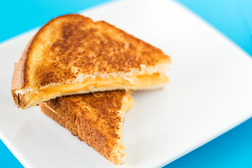 Grilled Cheese on white plate with blue background