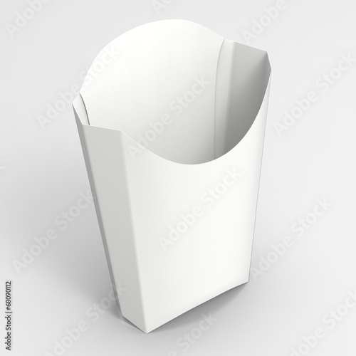 French Fries Box Mock-up. White Paper Package Container\