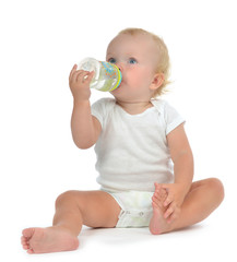Infant child baby toddler sitting and drinking water