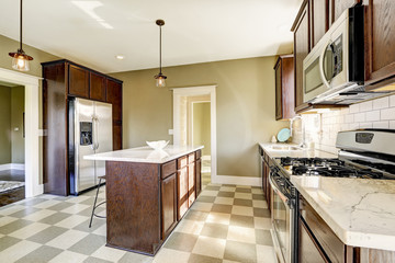 Kitchen room with marble tops