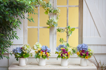 Colorful flowers pots