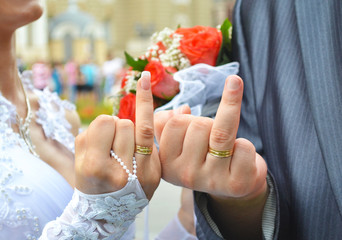 Newlyweds two fingers two rings