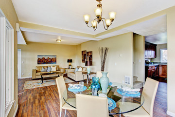 Ivory dining area with served table