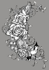 Rose bird strawberry vintage tattoo ornament vector
