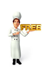 Young chef with free text sign