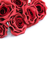 l bouquet of red roses on a white background