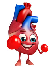 Heart character with boxing gloves