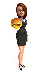 Young Business Woman with burger