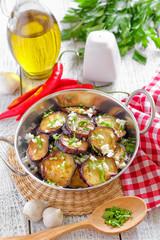 Fried eggplant with garlic