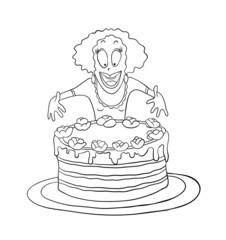 Woman and big cake, vector illustration