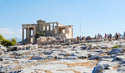 many tourist near Porch of the Caryatids, Athens