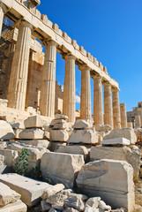 columns of Parthenon temple, Athens,