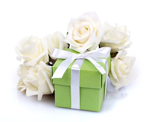 white flowers and gift box
