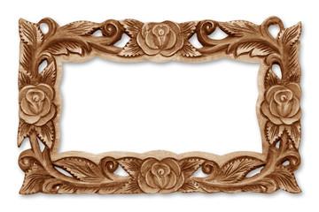Pattern of flower carved wooden frame