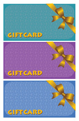 Colorful gift cards with ribbons