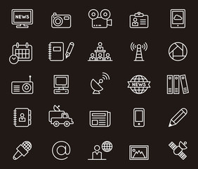 Set of white outlined icons in a black background related to Journalism and Media