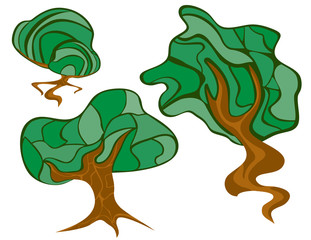 Illustration of different types of trees.