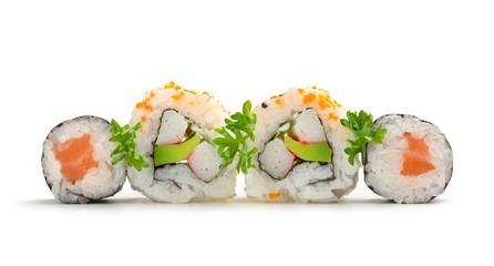 salmon sushi maki and california rolls